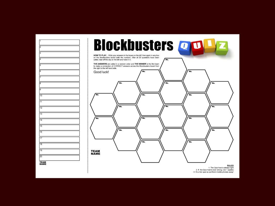 Blockbuster quiz sheets